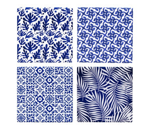Blue & White Abstract Coasters Set of 4
