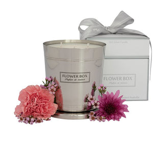 Pink Flowers Flower Box 1kg Silver Candle