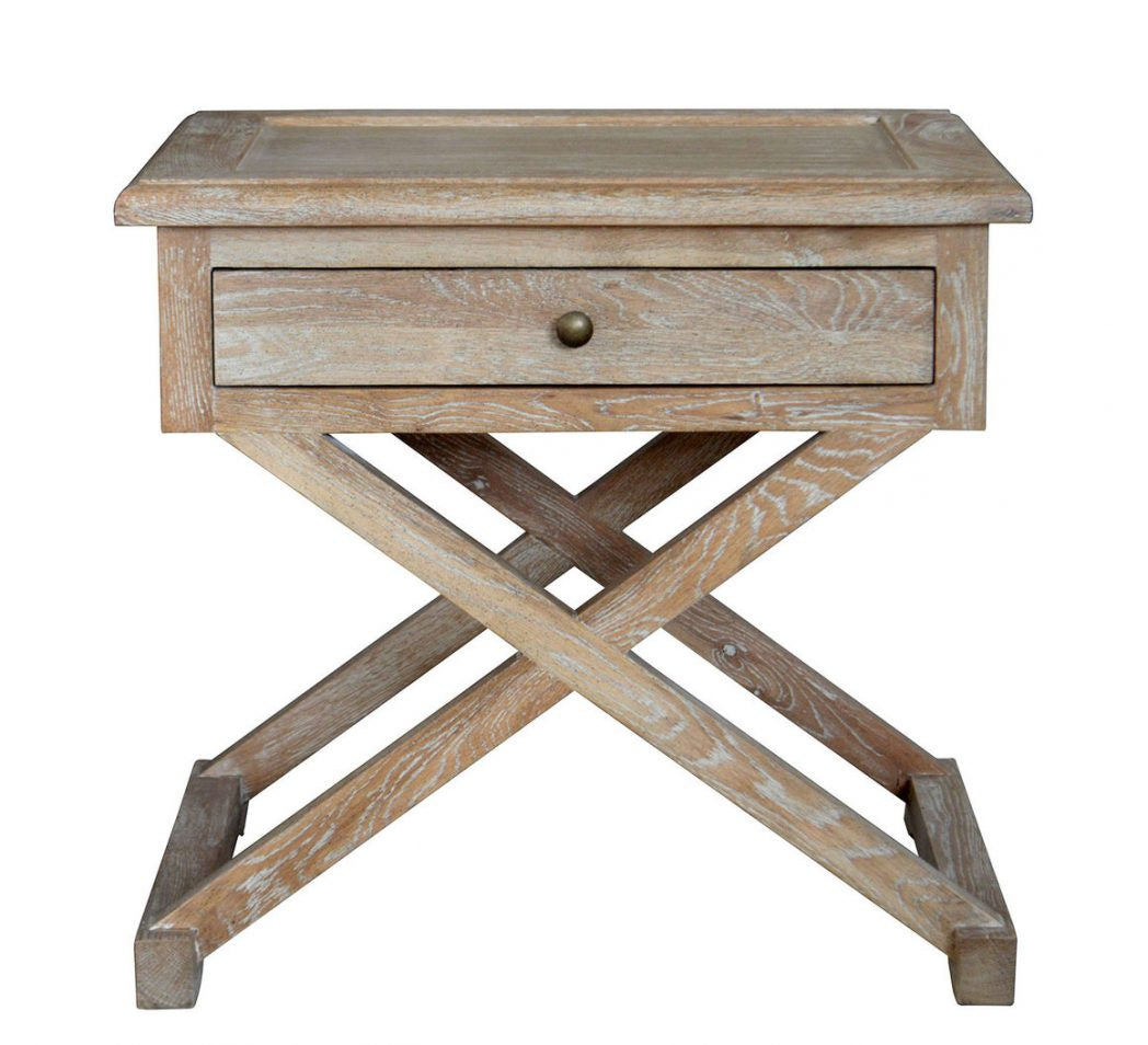 Cross-Leg Side Table Washed Oak