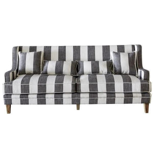 Grey & Cream Stripe 3 Seat Sofa