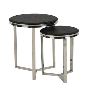 Black Shagreen Round Tables Set of 2
