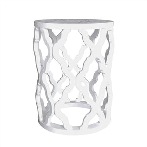 Quatrefoil White Side Table