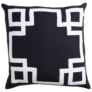 Black Tile Linen Cushion