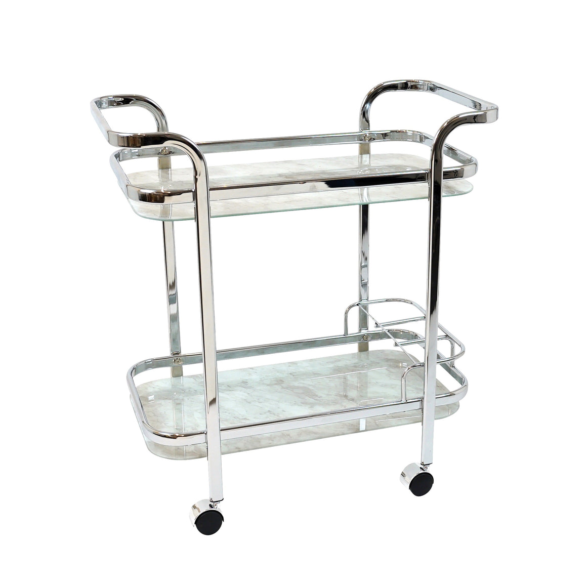Chrome Bar Trolley Cart - White Marble Glass