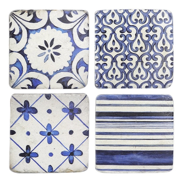 Blue & White Coasters Set of 4
