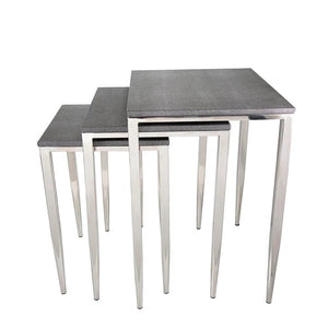 Grey Shagreen Rect Tables Set of 3