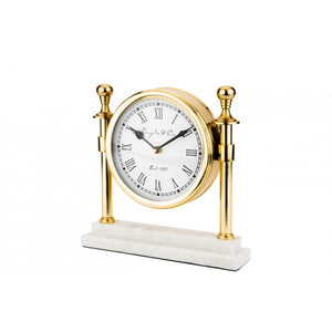 Round Gold Clock w/Marble base