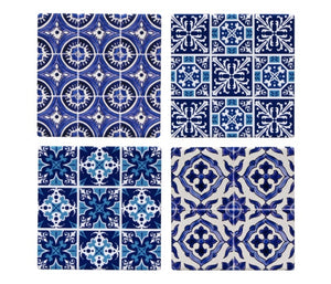 Blue & White Mosaic Coasters Set of 4