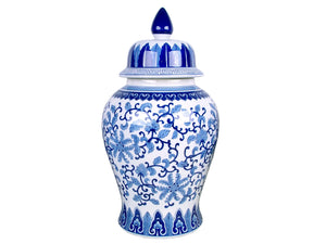 Blue & White Lotus Temple Jar