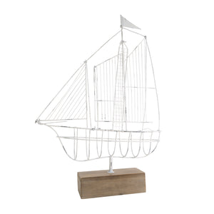 Wire Sailing Ship on Timber Base