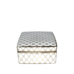White & Gold Square Trinket Box