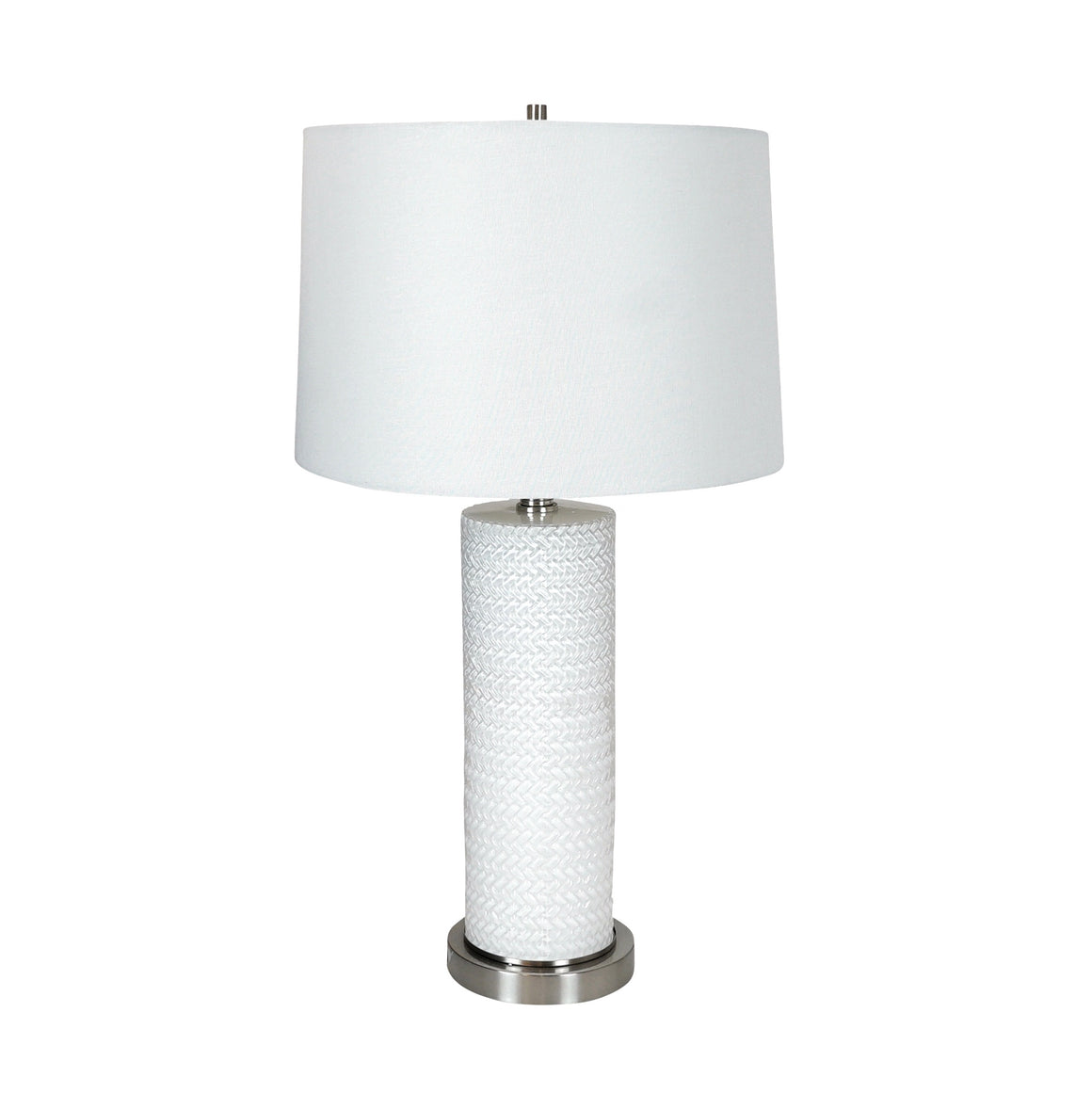 White Glass Cylinder Lamp