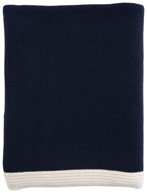 Navy Border Throw