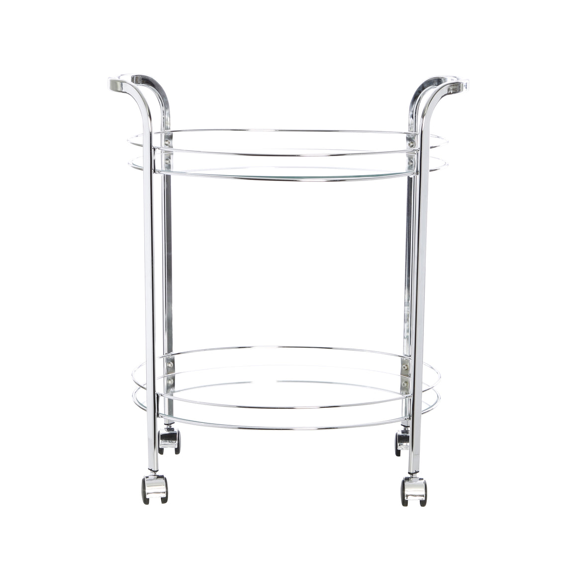 Chrome Bar Trolley Cart - Oval Glass