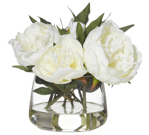 Cream Peony Rounded Glass Vase
