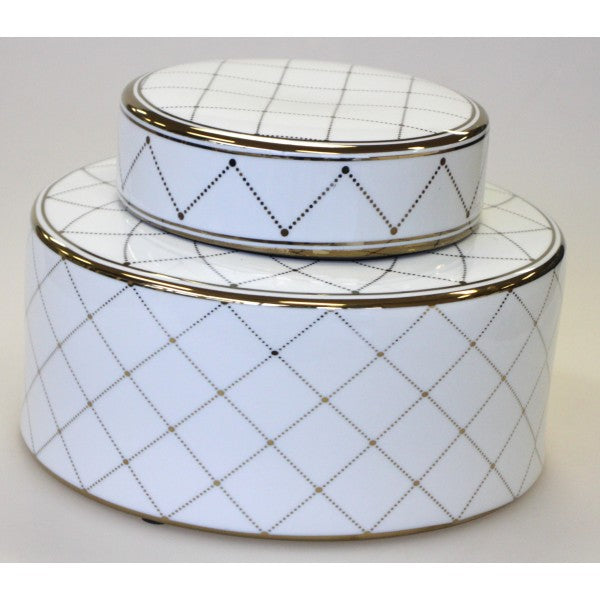 White with Gold Grid Pattern Ginger Jars