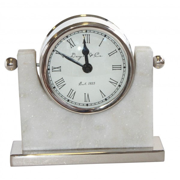 Silver Clock on Marble Base