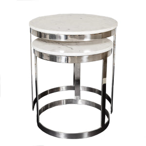 Polished Marble Side Table Set of 2
