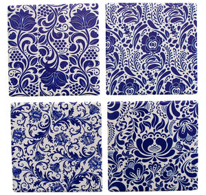 Coasters Blue Floral Set of 4