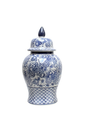 Blue & White Toile Temple Jar