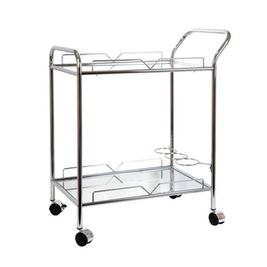 Silver Mirror Rectangle Bar Trolley