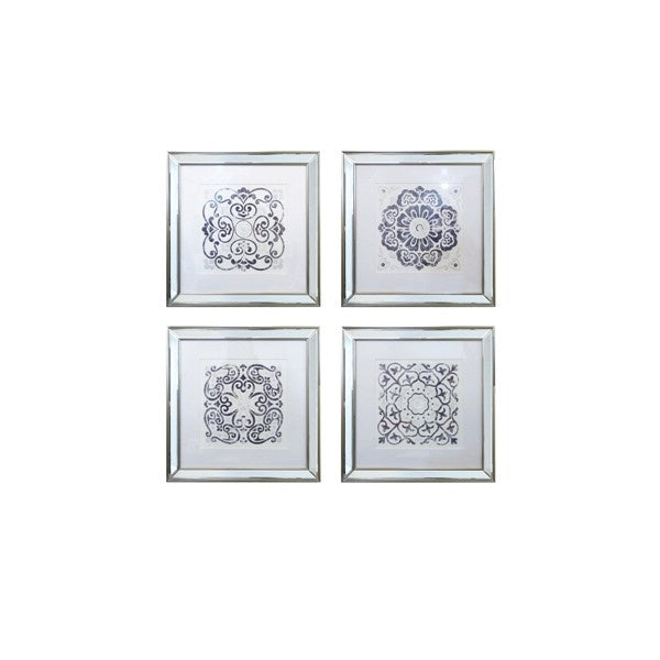 Blue and White Mirrored Prints Set of 4