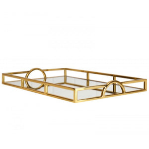 Gold Rect Arch Handle Tray Lge
