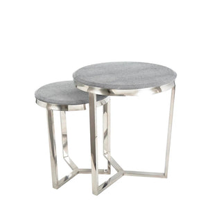 Grey Shagreen Round Tables Set of 2