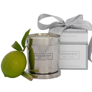Fresh Lemongrass Flower Box 290gm Silver Candle