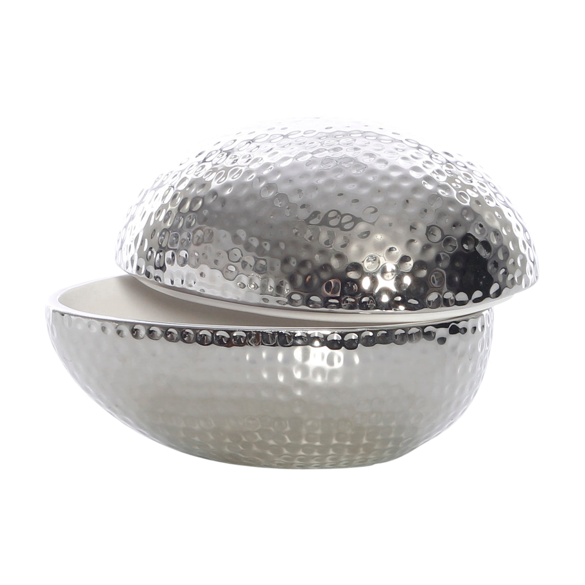 Silver Egg with White Lining