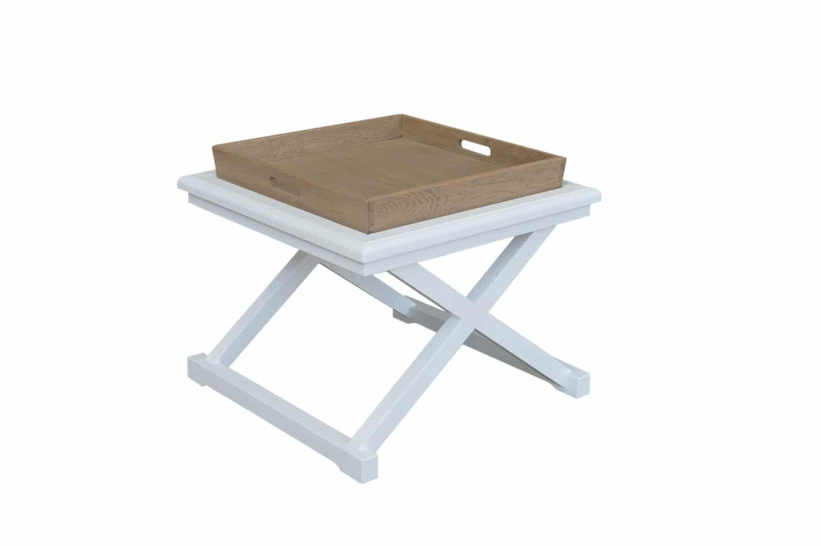 Cross-Leg Side Table White with Oak Tray