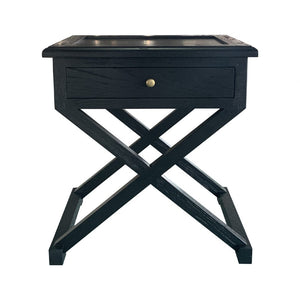 Cross-Leg Side Table Black