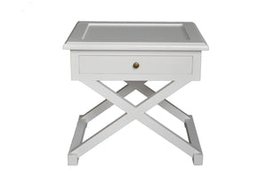 Cross-Leg Side Table White