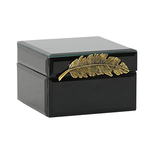 Black w/Gold Feather Jewellery Box