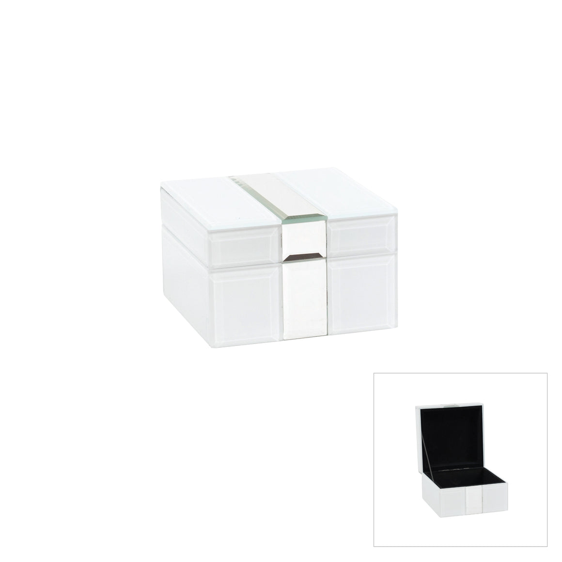 Parslow White Mirror Jewellery Box