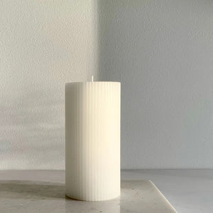 Ripple Pillar Candle - Warm White