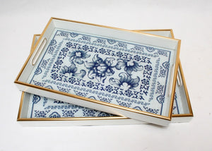 Blue & White Floral Tray