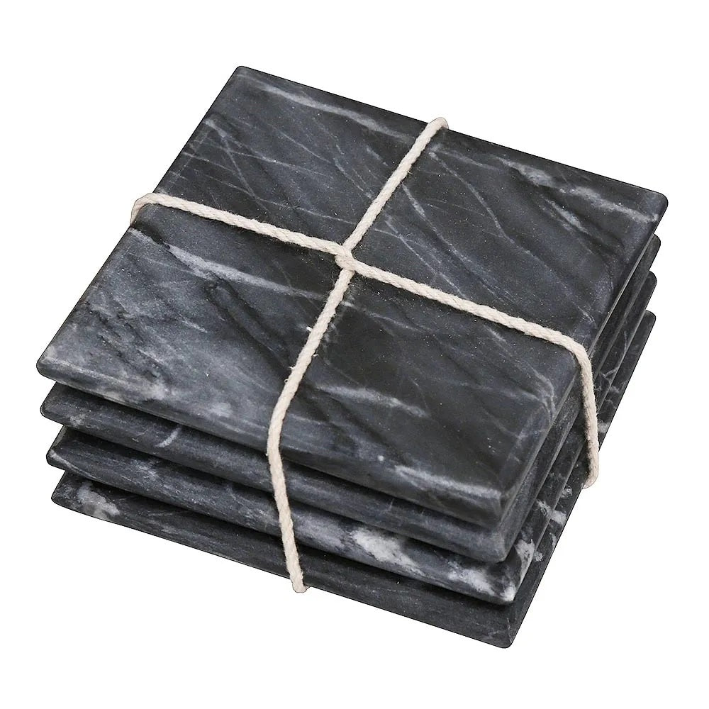 Marble Coasters Black Set of 4