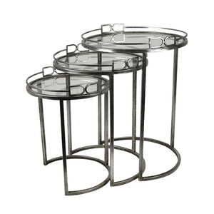 D Silver Nested Tables Set of 3