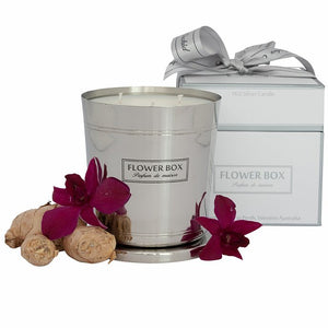 Amber Orchid Flower Box 1kg Silver Candle