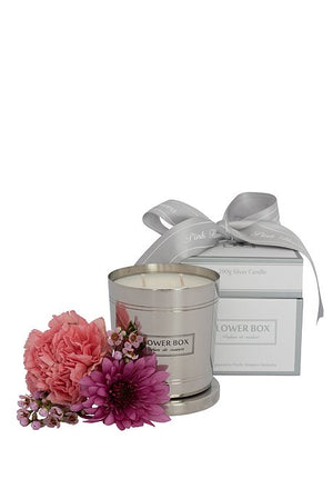 Pink Flowers Flower Box 290gm Silver Candle