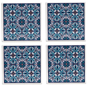 Blue Quatre Coasters Set of 4