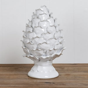 White Ceramic Pinecone