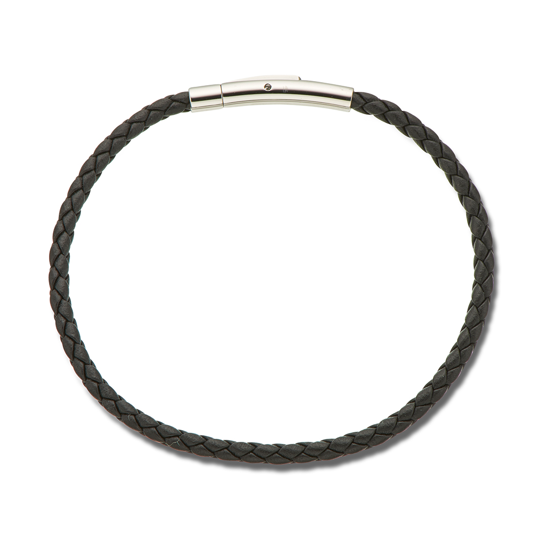 Black Fine Leather Bracelet