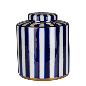 Paris Stripe Blue Round Jar