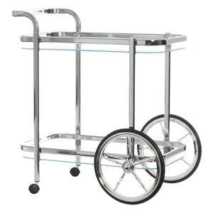 Chrome Bar Trolley with Cart Wheels