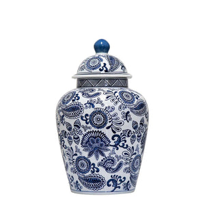 Paisley Blue & White Ginger Jar