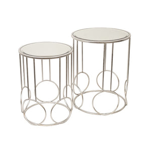 Tora Silver Round Side Table Set of 2