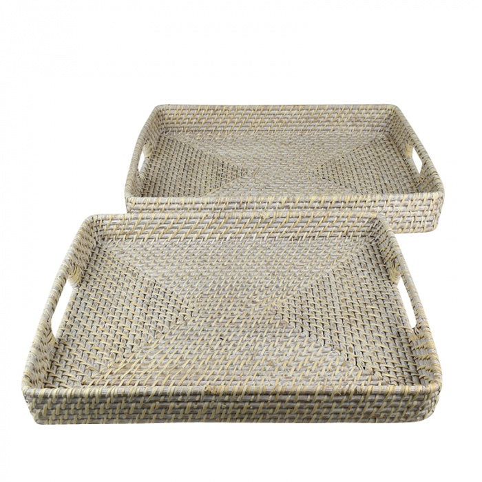 Rattan Rectangle White Tray