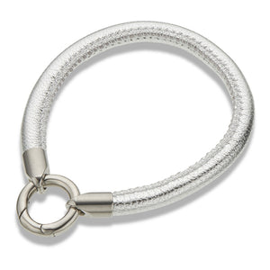 Silver Leather Ring Clasp Bracelet